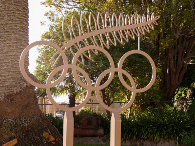 Image of Olympic Rings at NZOC offices in Auckland