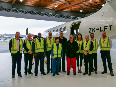 Dame Patsy Reddy Sir David Gascoigne meet the Life Flight crew