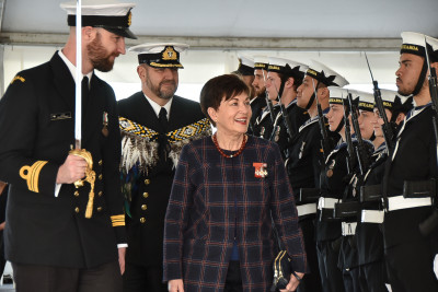 Image of Dame Patsy inspecting the Guard of Honour