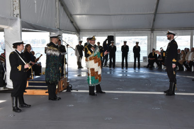 Image of the commissioning ceremony for the HMNZS Aotearoa