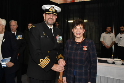 Image of Dame Patsy with HMNZS Aotearoa's Commanding Officer Captain Simon Rooke