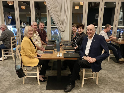 Image of Dame Patsy and Sir David are having dinner with Mayor of Westland District, Bruce Smith and wife Jenny, and Mayor of Grey District Tania Gibson and husband Stephen.