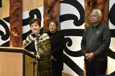 Image of Dame Patsy speaking at Arahura Marae