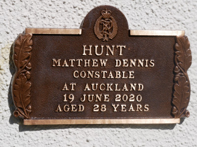 The plaque for Constable Matthew Hunt