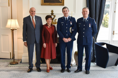 Image of Dame Patsy and Sir David with NZ Police Commissioner Andrew Coster and District Commander Southern Paul Basham