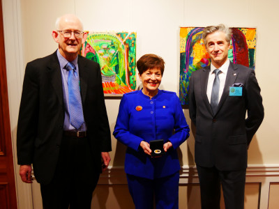 Image of Dame Patsy with Dame Patsy, Royal Numismatic Society of New Zealand President David Galt and Secretary Wayne Newman following the presentation of the conference medal to Dame Patsy