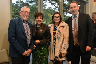 Dame Patsy Reddy and guests enjoy the McCahon reception