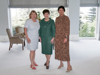 Image of Dame Patsy with Global Women Chair Anna Stove and CEO Agnes Naera