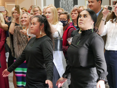 Image of AUT students performing a haka