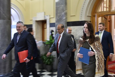 Image of Prime Minister Jacinda Ardern heading to the Debating Chamber