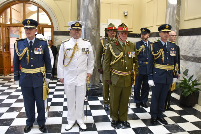 Image of The Chief of Defence Force and Service Chiefs awaiting Dame Patsy's arrival