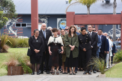 The official party arriving at the entrance to Mataatua Marae