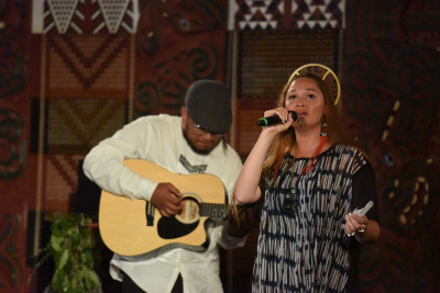 Maisy Rika performing her song about the Whakaari eruption