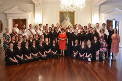 Image of Dame Patsy and the choir