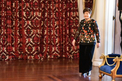 Image of Dame Patsy entering the Ballroom