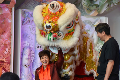 Dame Patsy Reddy and a Lion Dance