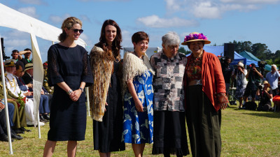 Image of Laura Clarke, British High Commissioner, Jacinda Ardern, Prime Minister, Dame Patsy Reddy, Governor-General following the harirū