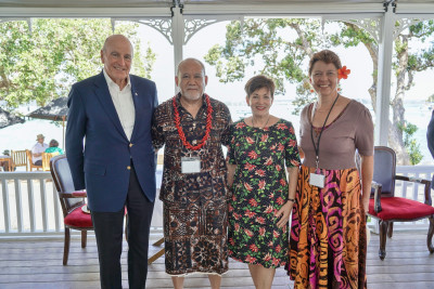 Image of Dame Patsy and Sir David with Dean of the Diplomatic Corps His Excellency Leasi Papali'i Tommy Scanlan and Joyce Scanlan