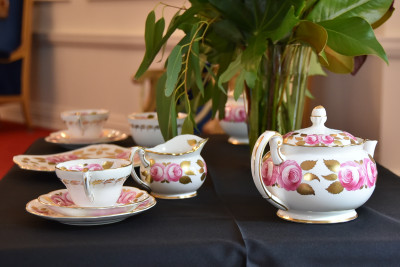 Image of the Foley tea set with a pink camellia pattern