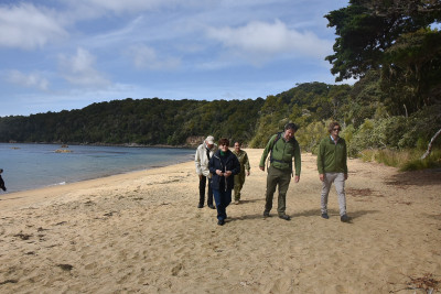 With Department of Conservation staff on Ulva Island