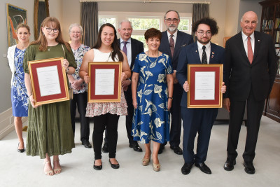 Image of Dame Patsy and Sir David with the three 2020 Sir George Elliot Tertiary Scholarship winners and the trustees