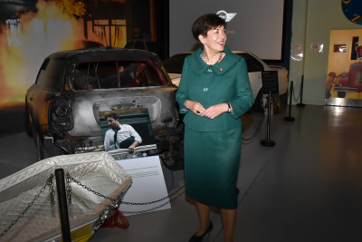 Dame Patsy and a mini used during the re-make of Goodbye Pork Pie