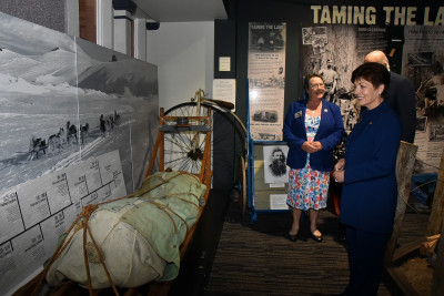 Dame Patsy with a sled used by Sir Ed Hillary in the Antarctic