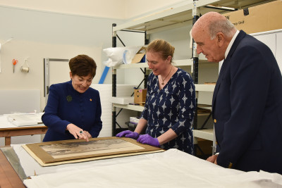 Their Excellencies were shown a sample of Te Hikoi's extensive collection of old photographs