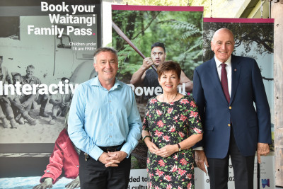 Image of Dame Patsy and Sir David with Greg McManus, CEO of the Waitangi National Trust Board