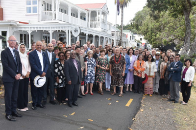Image of Dame Patsy with the members of the Diplomatic Corps