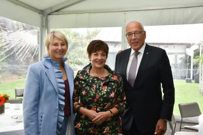 Dame Patsy and Co-Chairs of the Aotearoa Circle, Vicky Robertson and Sir Chris Mace