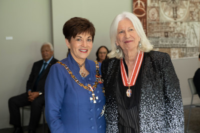 Distinguished Professor Dame Anne Salmond and Dame Patsy Reddy
