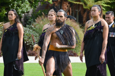 Image of a warrior from the RNZN cultural party