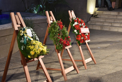 Three wreathes laid by Dame Patsy, the Turkish Ambassador and Australian High Commissioner