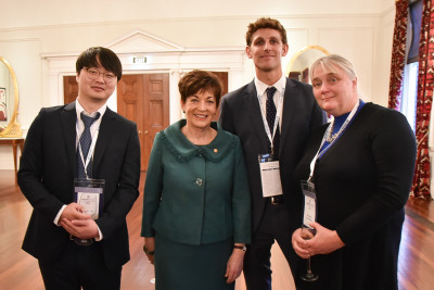 Image of Dame Patsy and guests at the reception
