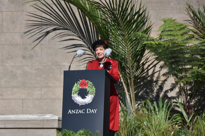 Dame Patsy delivering the Anzac Address