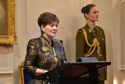 Dame Patsy speaks at the dinner