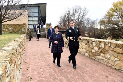 Image of Commodore Peter Leavy, Acting Commander of the Australian Defence College with Dame Patsy