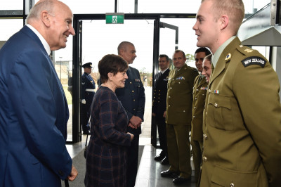 Image of Dame Patsy and Sir David meeting students at the Australian Defence College