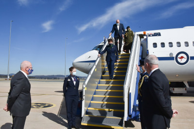 Image of the arrival in Canberra