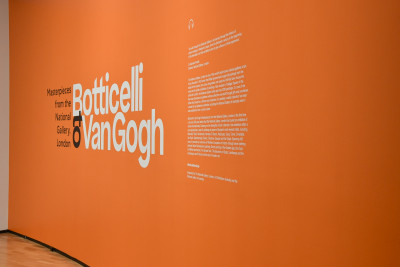 """Image of the entrance to the  National Gallery of Australia's exhibition of """"Botticelli to Van Gogh"""""""