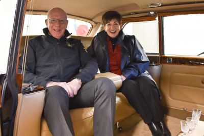 Image of Dame Patsy and General Hurley in the Rolls-Royce