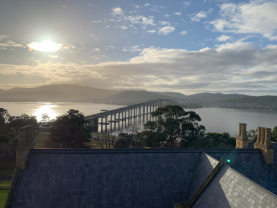 Image of a view from the tower at Government House in Hobart