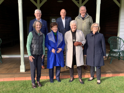 Image of Dame Patsy and others outside the tennis pavillion at Government House in Hobart