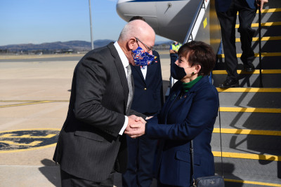 Image of Dame Patsy being greeted by Australian Governor-General, His Excellency General the Honourable David Hurley
