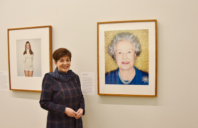 Image of Dame Patsy with Australian photographer Polly Borland's 2002 portrait of The Queen