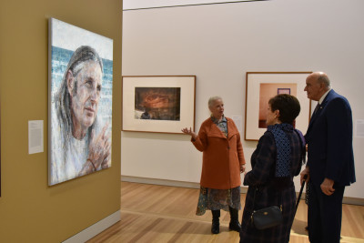 Image of a portrait of author Tim Winton at the Australian National Portrait Gallery