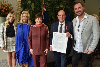 Dame Patsy Reddy with Jim Boult and family