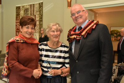Dame Patsy Reddy with Stuart Hutchinson and Gay Hutchinson