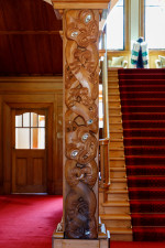 Image of one of the pou carved under the supervision of Sir Paul Reeves
